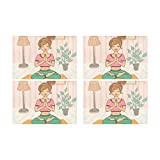 Yoga Cartoon Healthy Girl Kitchen Stampato Resistente alle Macchie di Calore Isolamento Lavabile Tavolo Quadrato Tappetino per Baby And Women Round Table Dinning 12'X 18' Set di 4 Pezzi