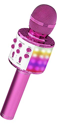 OVELLIC Karaoke Microphone for Kids, Wireless Bluetooth Karaoke Microphone with LED Lights, Portable Handheld Mic Speaker Machine, Great Gifts Toys for Girls Boys Adults All Age (Purple)