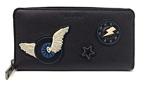 Coach Accordion Wallet in Leather with Varsity Patches Bl
