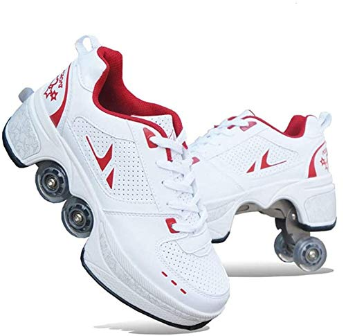 Zapatos Unisex con Ruedas para Niños,Zapatos Multiusos 2 En 1,Botas de Patines Cuádruples Ajustables de 4 Ruedas,Zapatillas de Gimnasia para Correr Al Aire Libre,Plus Size 31-4332