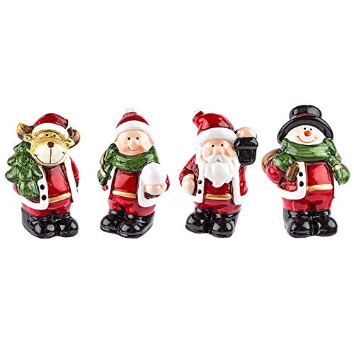 Kleine Deko-Figuren | Weihnachten | 4 Stück | Rentier, Weihnachtsmann, Schneemann & Winterkind | Weihnachtsfiguren ideal zum Basteln oder als Tischdeko (Figuren stehend | ca. 7 cm hoch)