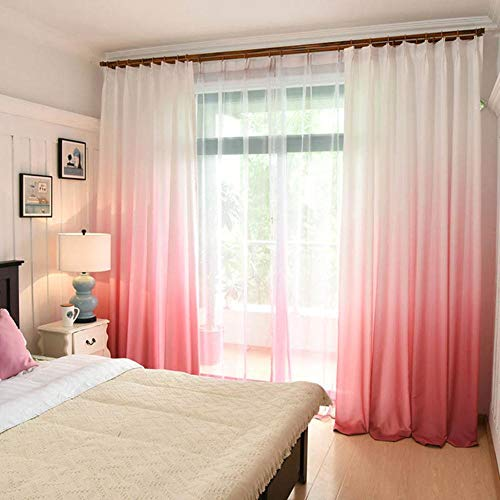 PENVEAT Cortinas Opacas con Estampado 3D para salón, Color Degradado, Tratamiento para Cortinas de Cocina, Dormitorio, Cortinas, Color Rosa, 200 x 265 cm