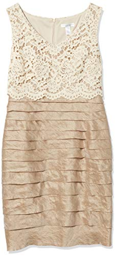 London Times Women's Petite Shimmer Shutter Sheath Dress with Crop Lace Overlay, Champagne, 6P