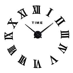 3D DIY Wall Clock, Frameless Large Wall Clock Home Decoration Mute Mirror Wall Stickers Black Roman Numerals