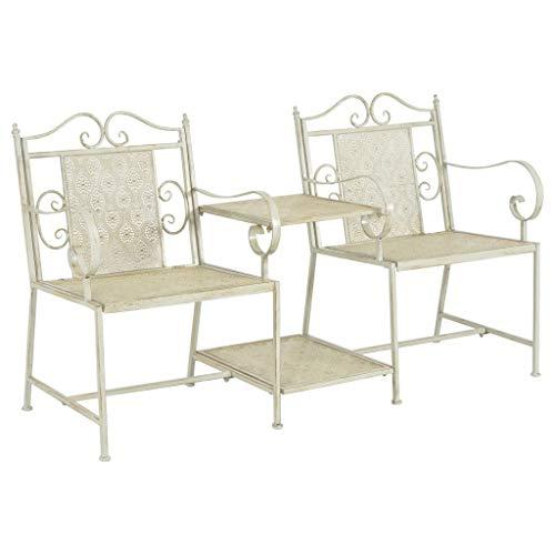 Festnight Tuinbank tweezits Eettafel en stoel salontafel voor eetkamer woonkamer keuken 161 cm staal wit