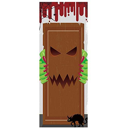 Gcroet 1set Halloween 3D Fondo De Pantalla De Puerta Murales De Pared Pegatinas El Comer Carne Humana del Monstruo Etiqueta De La Pared Puerta Vinilo Autoadhesivo ExtraíBles Arte Tatuajes De Puertas