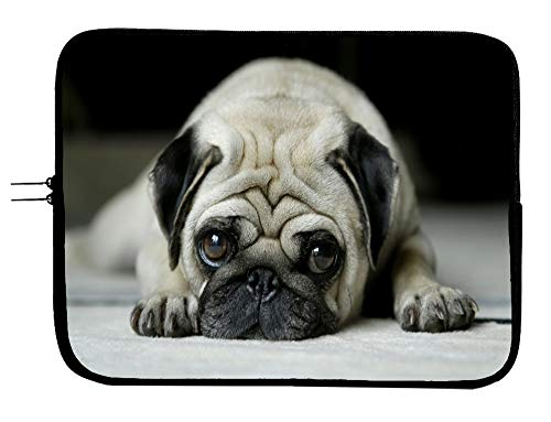 Brand3 Cute Pug Laptop Sleeve Bag Case Padded Laptop Sleeve Case Protector Pug 13 13.3 Inch Mac Book Pro Case Sleeve/MacBook Air Surface Pro Laptop/Tablet Water Repellent Neoprene Cushioned Case