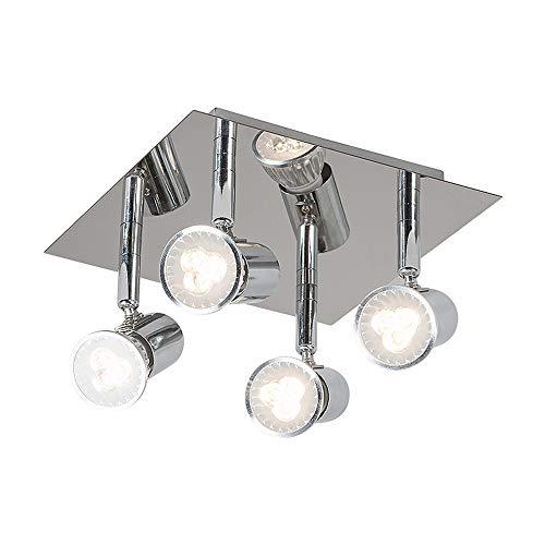 Industrie Spotlight Decken Stahl/Nickel Matt/Satin 4-Light Schwenkbare GU10,4-Weg/Innenbeleuchtung/Beleuchtung/Lampen/Wohnzimmer/Kitc,Chrome