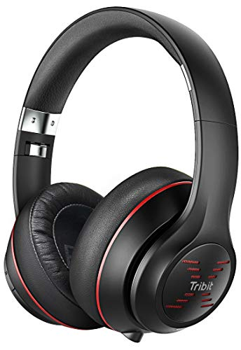 Tribit XFree Tune Bluetooth Headphones Over Ear - Wireless Headphones 40 Hrs Playtime, Hi-Fi Stereo Sound with Rich Bass, Built-in Mic, Soft Earmuffs - Foldable Headset with Carry Case,Black/Red