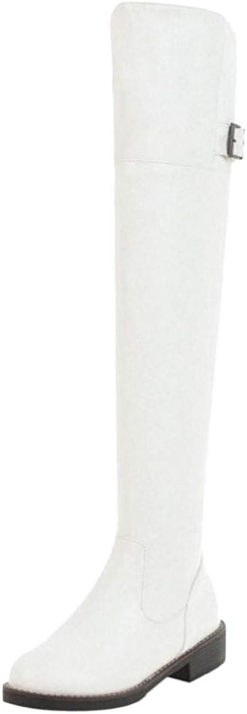 CularAcci Women Flat Thigh High Boots Zipper