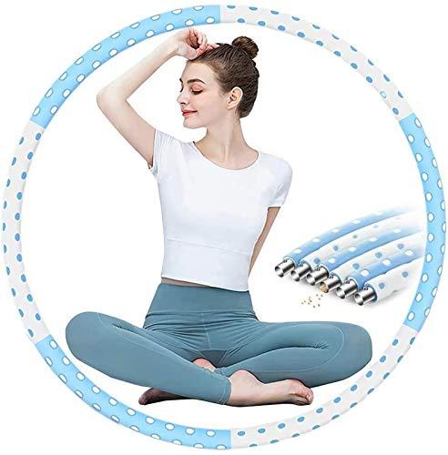 Hula Hoop - Aro de hula Hoop para adultos, núcleo de acero inoxidable estable con espuma premium, se utiliza para reducir peso y masaje, 6 segmentos, neumáticos de hula Hoop desmontables (azul)