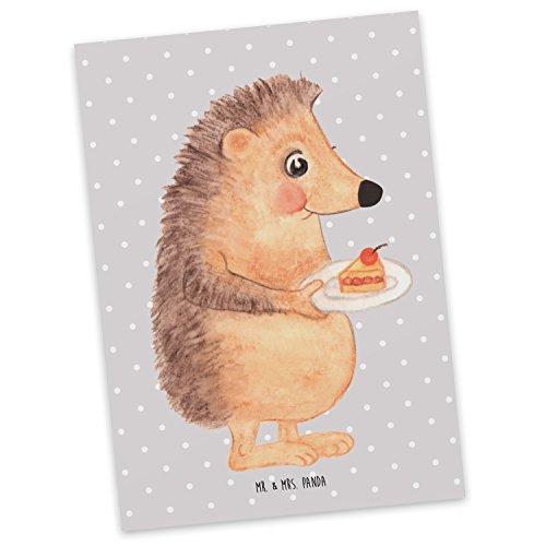 Mr. & Mrs. Panda cadeaubon, uitnodiging, Ansichtkaart Egel met fluitje van een cent - Kleur Grijze Pastel