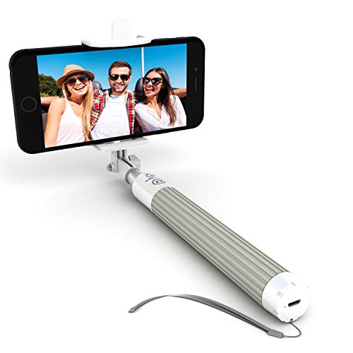 Premium Bluetooth Selfie Stick for iPhone X XR XS 11 10 X 8 7 6 5, Samsung Galaxy S10 S9 S8 S7 S6 S5 & Most Androids - Takes Perfect HD Photos in Seconds - No Apps, No Downloads, No Hassle