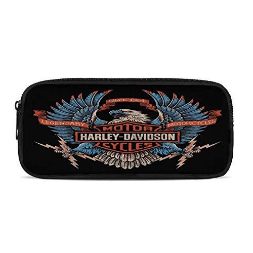 Harley Davidson - Estuche grande con cremallera doble para maquillaje, lápiz de papelería, bolsa de almacenamiento