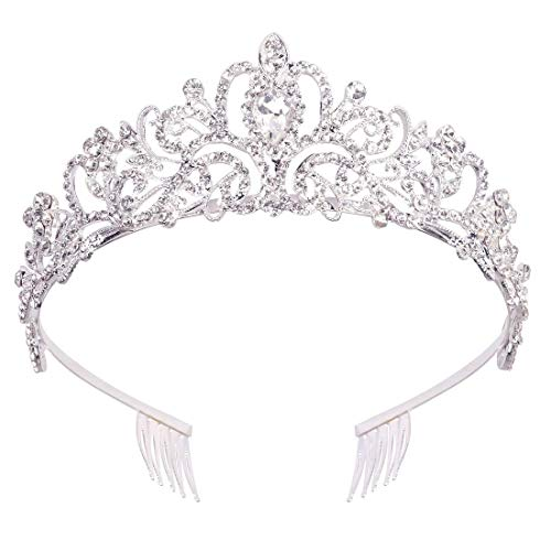 Crystal Tiara Crown with Combs for Women Rhinestones Wedding Crown Silver Queen Tiara Headband Princess Crown for Girl Party Hair Accessories