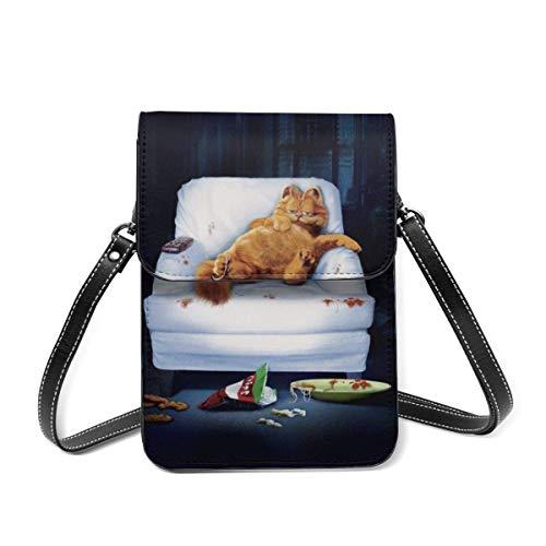 shenguang Garfield Funny Schlafsofa Cartoon Theme Leichte Lederhandtasche, Frauen Multicolor Handtasche Kleine Umhängetasche Mini Handytasche Umhängetasche. Mit verstellbarem Riemen