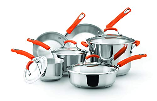 Rachael Ray Classic Brights Stainless Steel 10-Piece Cookware Set, Silver with Orange Handles