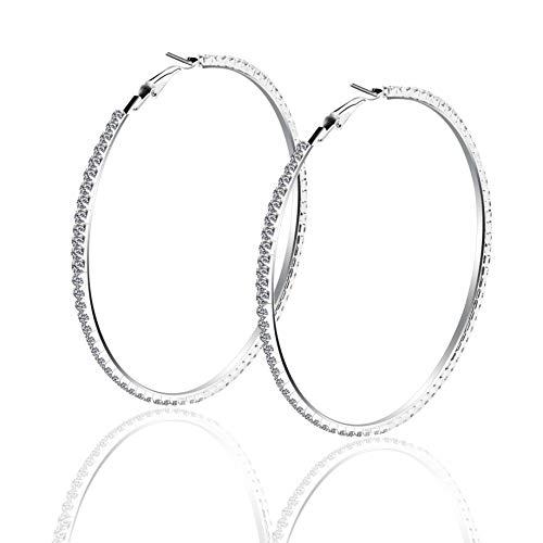 Creolen Ohrringe Damen Groß Runde Kreolen Ohrschmuck für Frauen Freundin Mädchen Hochzeit Crystal Strass Hoop Ohrringe Durchmesse:60 80 mm