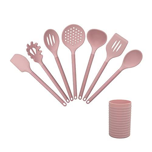 KJHD 8 unids silicona utensilios utensilios conjunto de utensilios de cocina antiadherente herramientas de cocción cuchara espátula herramientas de cucharón gadget accesorios (Color : Pink)