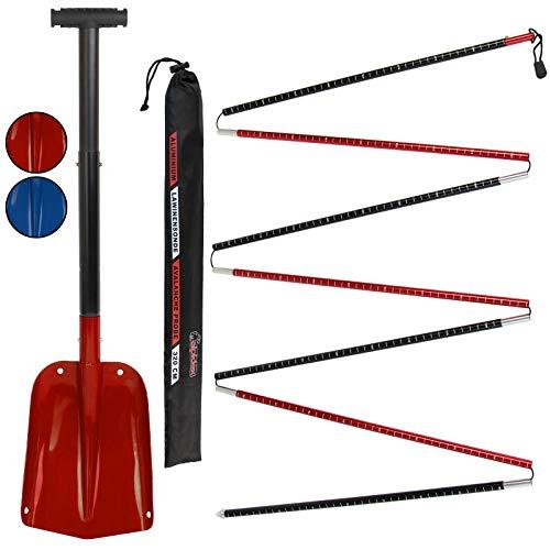 ALPIDEX Lawinensonde 260 oder 320cm und Schneeschaufel Klappbar Set Aluminium Leicht Kompakt Lawinenset, Farbe:Red - 320 cm