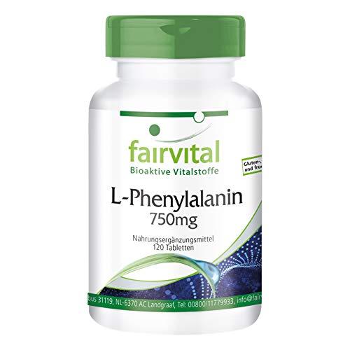 L-Fenilalanina 750mg - VEGANA - Dosis elevada - Aminoácido esencial - 120...