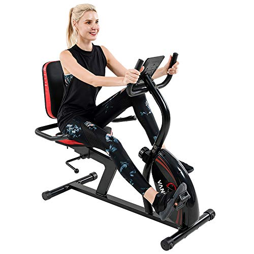 Vanswe Recumbent Exercise Bike for Adults Seniors Cardio Workout at Home with 16 Levels Magnetic Resistance, 380 lbs Weight Capacity, Adjustable Seat, Bluetooth Connectivity, Pulse Rate Monitoring