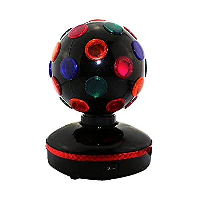 1byone Type QL-0078 Diameter 5.1-inch Disco Ball Light, LED Rotating Multicolor Flashing Disco Ball Lights, Apply Lighting for DJ, Disco, House, Party, Hotel, Stage, Office, Camping Field, Halloween and Christmas
