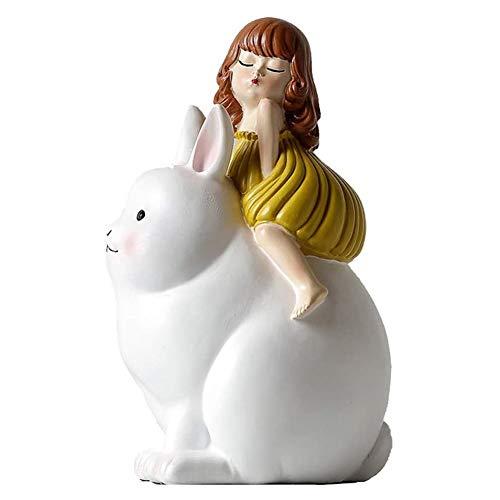 ZHANGXJ Familia Estatua Figurilla de Dibujos Animados Luz de la Luna Conejo de Resina Artesanal Inicio Cuarto de Niños Decoración Modelo de la Decoración Suave 13x23cm Artesanía