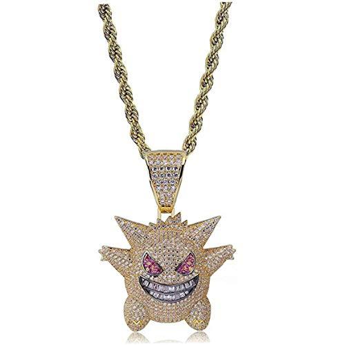 Berrywho Hip Hop heló hacia Fuera el Collar del Rhinestone Crystal Pokemon Plata Pendiente con la Cadena Colgante Killy Gengar con 24' Cuerda Inoxidable Hombres Mujeres (Oro)