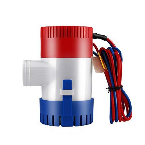 QiKun-Home Bomba de Agua de vacío de 12V Bomba de sentina de Barco Marino Sumergible Bomba de Agua de 1100GPH Utilizada en Barcos Hidroaviones Casas de Motor Casa Flotante Blanco Rojo y Azul