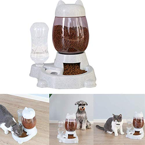 2 in 1 Dispenser per cibo e acqua per cani e gatti, distributore di acqua Erogatore automatico e abbeveratoio Ciotola da 2,2 l Acqua per animali domestici con bottiglia 528 ml