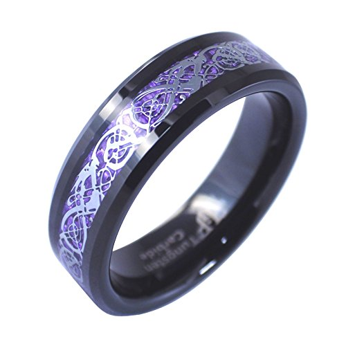 Fantasy Forge Jewelry Black Tungsten Royal Purple Celtic Dragon Ring Womens Mens 6mm Wedding Band Size 8.5