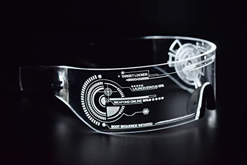 ASVP Shop Cyberpunk Sonnenbrille mit LED-Beleuchtung, perfekt für Cosplay und Festivals, Cybergoth (Weiß)