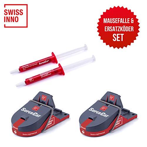 Bundle: SuperCat Mausefalle PRO 2er Pack + Ersatz-Köder Spritzen 2er Pack