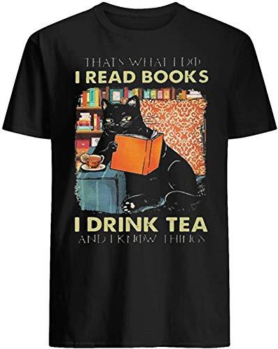 aoteman Micerice Cat Read Books Drink Tea Know Things T-Shirt_BlackS011