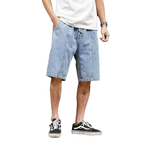 Pantalones Cortos de Mezclilla para Hombre Tendencia de Verano Tallas Grandes Pantalones Vaqueros Sueltos Casuales de Pierna Recta Pantalones Cortos de Mezclilla cómodos de Pierna Ancha 5XL