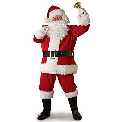 SUMTTER Weihnachten Kostüm Damen Herren Tops + Hosen + Gürtel + Bärte + Mütze Outfits Set Weihnachtsmann Santa Kostüm Sale