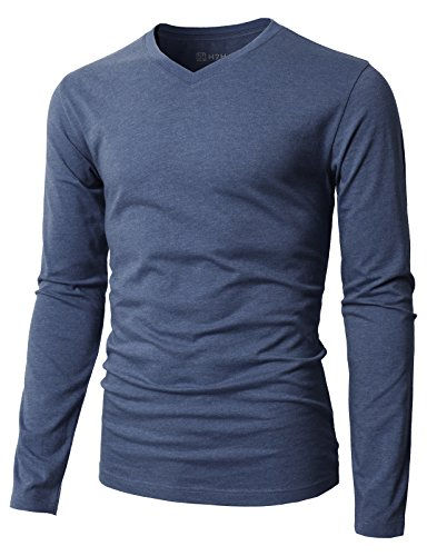 H2H Mens Casual Slim Fit Long Sleeve V-Neck T-Shirts DARKBLUE US M/Asia L (KMTTL0374)
