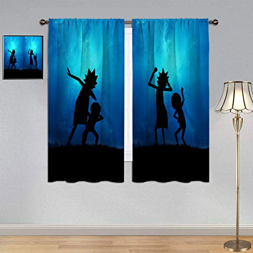 ARYAGO Blackout Kids Curtains Rick and Morty Curtains, Starry Sky Dance Pose Silhouette Energy Efficiency Curtains for Kid's Room 42x72 Inch