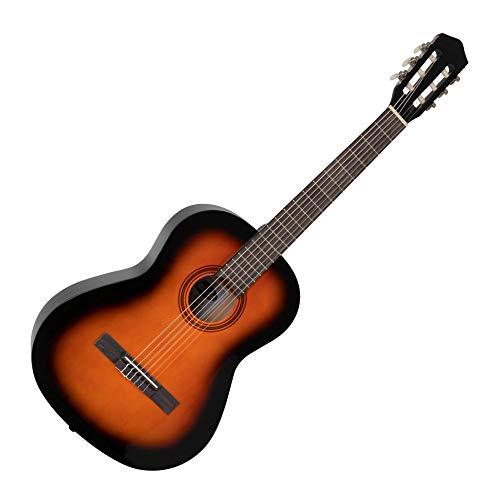 Calida Benita 7/8 Konzertgitarre - Akustikgitarre mit 18 Bünden - geeignet für Kinder im Alter von 11-13 Jahren - Bundmarkierungen - Nylonsaiten - 955mm Gesamtlänge - Sunburst