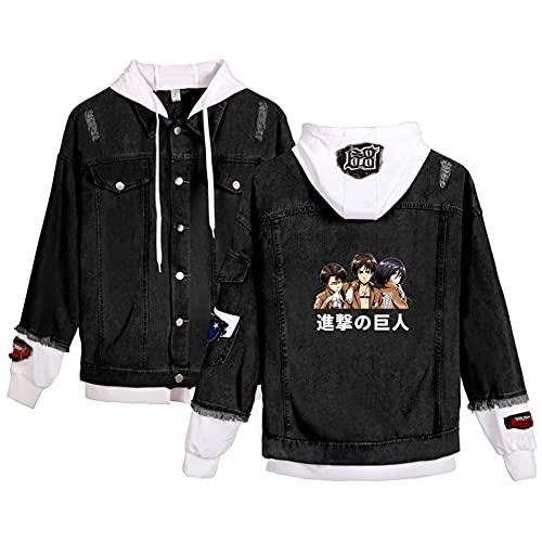QJN Chaqueta de mezclilla gigante de ataque, suéter de anime juvenil, Levi, uniforme y Mikasa con estampado de color, chaqueta popular para jóvenes negro y blanco-XXL
