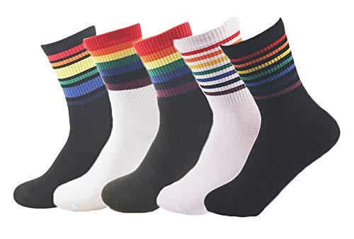 Richaa 5 Paar Damen Baumwolle Bunt Streifen Regenbogen Socken, bunt gestreift, Regenbogen-Socken, für Damen, Alltagskleidung