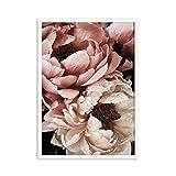 Decoración Floral Peonía Flor Arte de la pared Pintura de la lona Impresiones y carteles botánicos frescos Cuadros modernos de la pared para la sala de estar E 40x60cm Sin marco