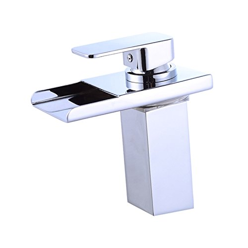 Wovier Chrome LED Waterfall Spout Bathroom Sink Faucet with Supply Hose,Single Handle Single Hole Lavatory Faucet,Slanted Body Basin Mixer Tap Commercial
