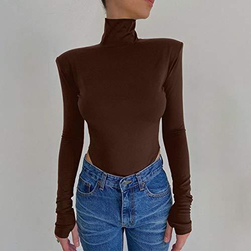 EIJFKNC Body sin Espalda con Cuello Alto para Fiesta, Tops para Mujer, Traje de una Pieza, Body de Cintura Alta, Mamelucos, marrón, L