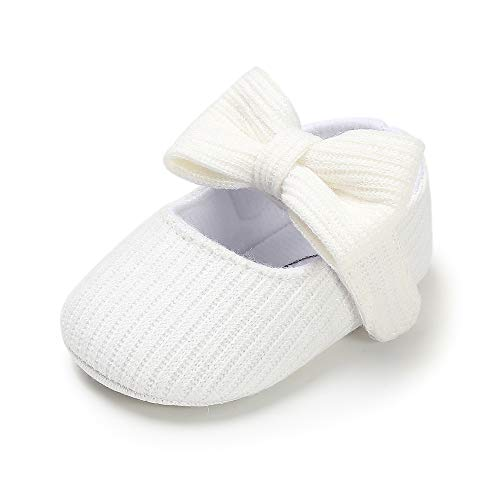 CLOUCKY Baby Girls Bowknot Crib Shoes Soft Sole Mary Jane Ballet Flats Infant Prewalker Dress Shoes White, 6-12 Months
