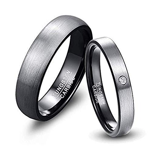 NUNCAD Silver Plated Tungsten Carbide Wedding Band for Men Women Couple Engagement Ring Size Z