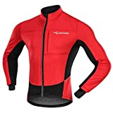 MUCUBAL Men's Cycling Jacket Windproof and Water-Resistant Coat Winter Thermal Breathable Bike Windbreaker(Red,XL)