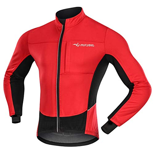 MUCUBAL Men's Cycling Jacket Windproof and Water-Resistant Coat Winter Thermal Breathable Bike Windbreaker(Red,XXL)