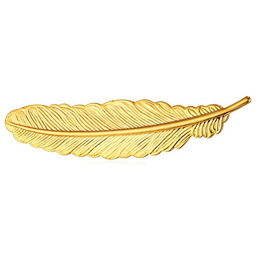 U7 Lady & Gentlemen Suit Brooches 18K Stamp Gold Tone Feather Leaf Brooch Pin(Gold)